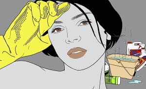 Close up portrait of woman cleaning with rubber-gloves