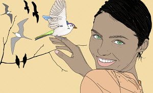 Close up portrait of smiling woman holding bird on finger