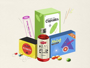 Marketing packaging for pills and medicine