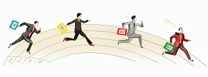 Business people running on race track carrying different percentage rates
