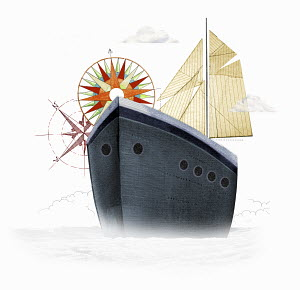 Ship with sails and compasses