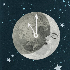 Sleeping face on moon with clock hands