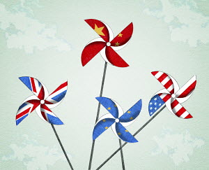 Flags of United States, Britain, China and the European Union on toy windmills