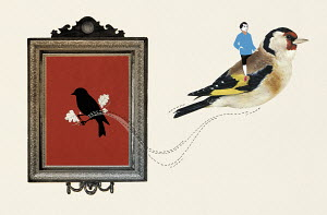Man riding on back of goldfinch escaping from painting in frame
