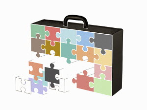 Jigsaw puzzle pieces forming briefcase