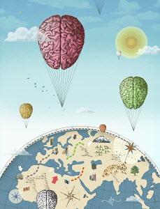 Human brain hot air balloons circling globe