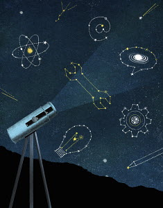 Telescope looking at star constellations for science and creativity
