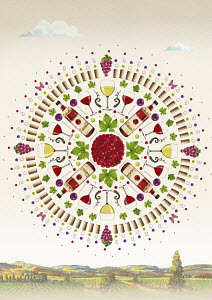 Wine and grapes in viticulture symmetrical circle pattern above vineyard