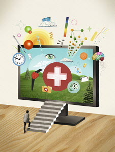Man stepping on stairs towards medical symbols on monitor