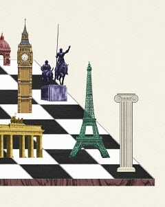 European landmarks on chessboard