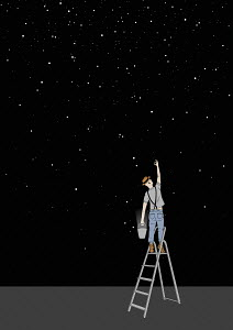 Man on ladder collecting stars in bucket