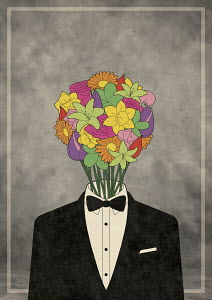 Man with bouquet of flowers for head wearing tuxedo and bow tie