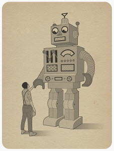Man shaking hand of large robot