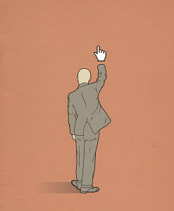 Businessman with cursor hand raised answering question