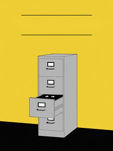 Eyes peeking out from open filing cabinet drawer