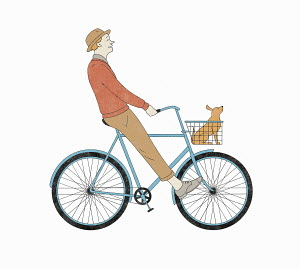 Carefree man cycling with pet dog in basket