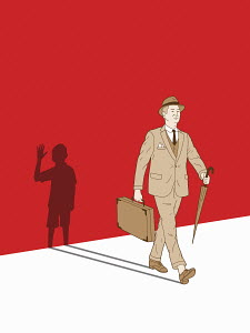 Businessman walking with shadow of waving boy