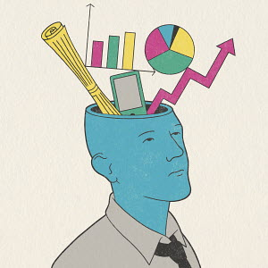 Graphs, smart phone and document inside of man's head