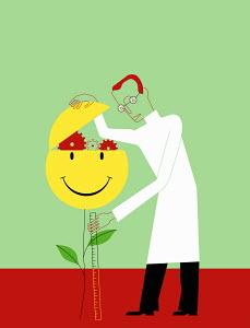 Scientist examining cogwheels inside smiley face