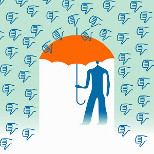 Man under umbrella surrounded by thumbs down