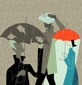 Woman with umbrella in rain and two men with insufficient protection