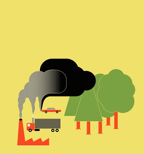 Trees absorbing the emissions of industry and traffic