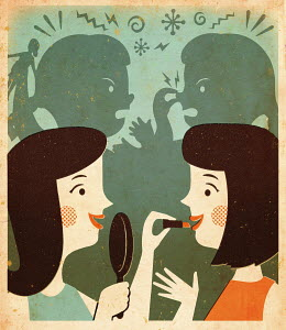 Two friends applying lipstick with shadow of two girls fighting