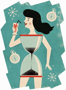 Woman in shape of hourglass drinking cocktail