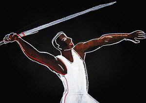 Javelin thrower in action