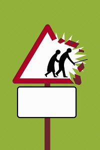 Elderly couple leaving traffic sign
