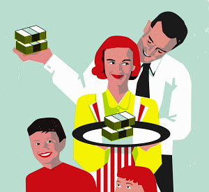 Happy family with father sharing money with wife