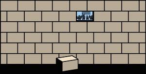 Teacher and class behind brick wall