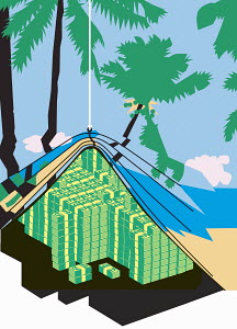 Bundles of money appearing behind curtain with tropical beach