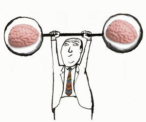 Man lifting barbell with brains inside