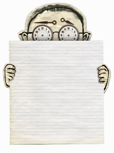 Man with clock eyes holding blank sheet of paper