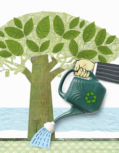 Watering can with recycling symbol watering tree