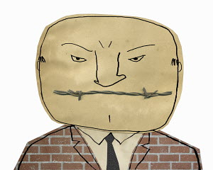 Frowning man with barbed wire mouth