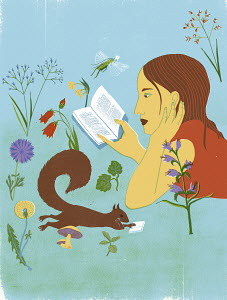 Young woman and squirrel reading books in tranquil nature