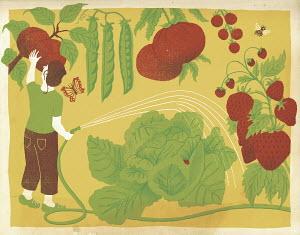 Woman watering huge fruit and vegetables in garden