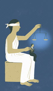 Lady Justice holding scales with small man sitting on her knees