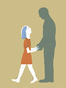 Girl holding hands of man's silhouette