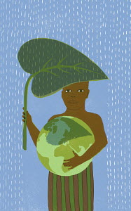 Boy holding globe protecting himself from rain with large leaf
