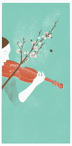 Woman playing violin in nature with blossoming twig bow