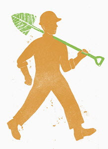 Man walking with spade above his shoulder