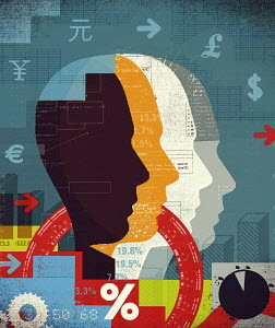 Collage of man' silhouettes, financial data and currency symbols