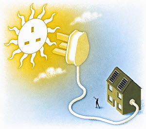House connected to sun by plug
