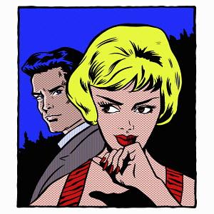Pop art comic of man looking at woman