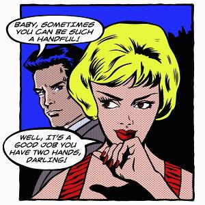 Pop art comic of man complaining about his girlfriend