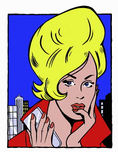 Pop art comic of young woman holding cell phone thinking