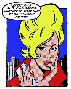 Pop art comic of young woman holding cell phone thinking about sending a comment